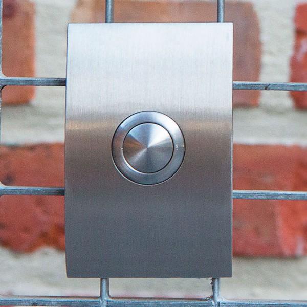Klassieke inox deurbel in halve ellips. Model G