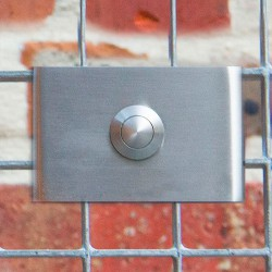 Design inox deurbel. Rechthoekig met afgeronde zijkanten. Model J classic
