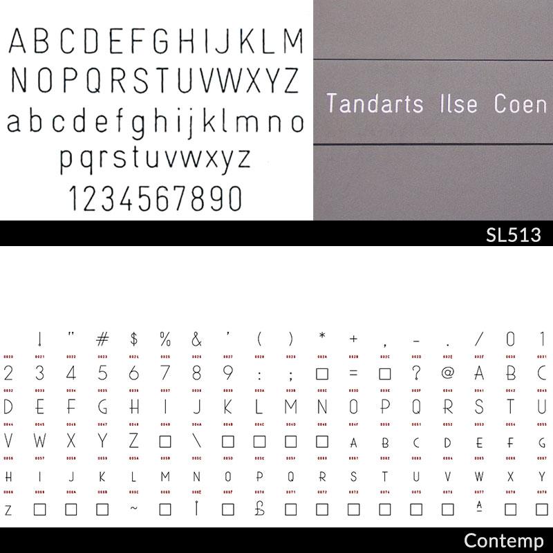 lettertypes pilaar brievenbus: SL513 en contemp